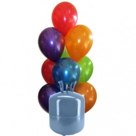 Botella de Helio Mini con 30 Globos Metalizados